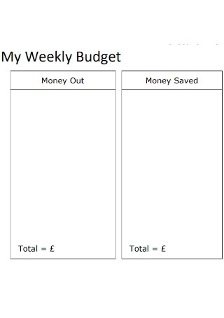 My Weekly Budget Format