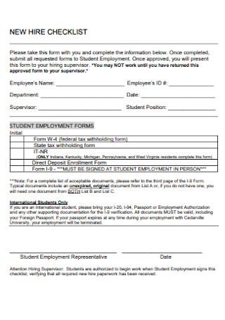 New Employment Hire Checklist