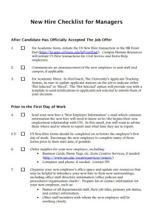 New Hire Checklist for Managers