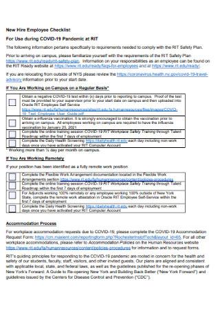 New Hire Institute Employee Checklist