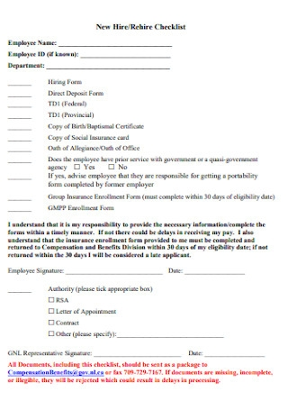 New Hire and Rehire Checklist