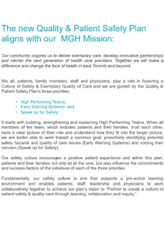 New Patient Safety Plan