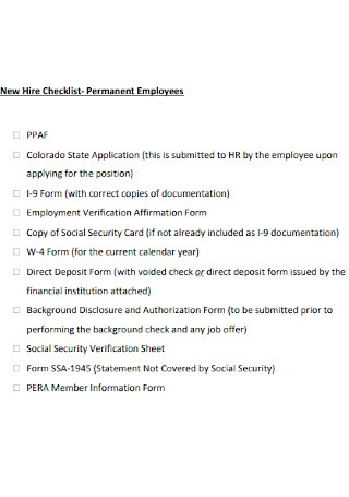 New Permanent Employees Hire Checklist