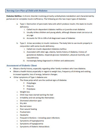 Nursing Care Plan of Child with Diabetes