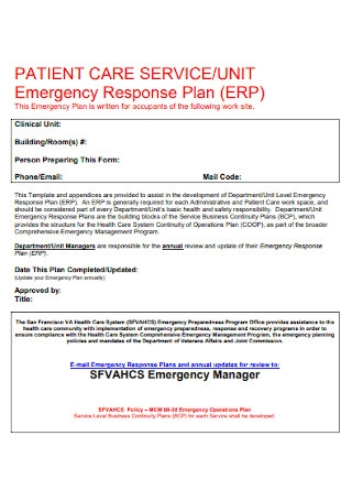 Patient Emergency Action Plan