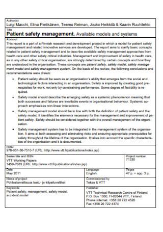 Patient Safety Management Plan
