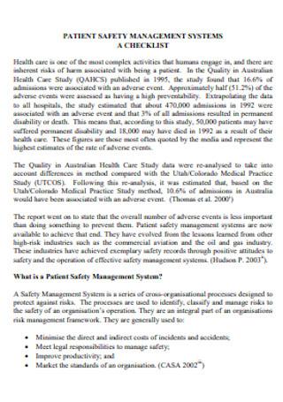 Patient Safety Plan Checklist