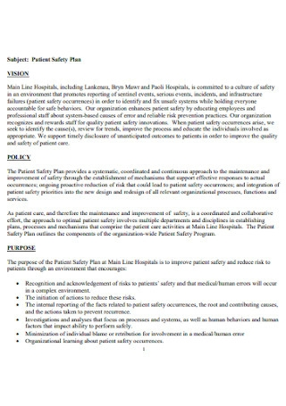 Patient Safety Policy Plan