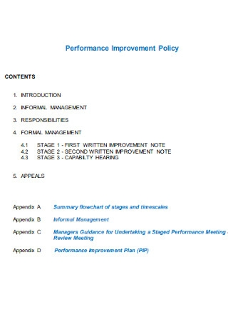 Performance Improvement Policy Plan