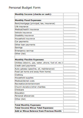Personal Budget Form Example