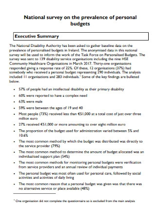 Personal Budget Survey Template
