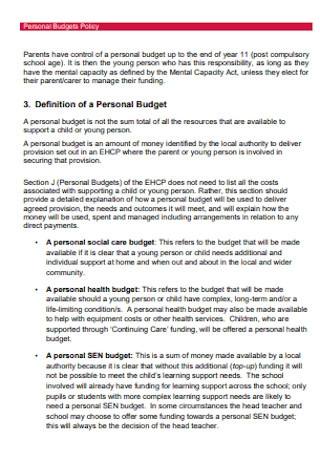 Personal Budgets Policy Template