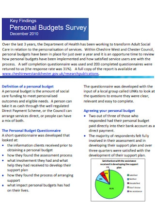Personal Budgets Survey Template