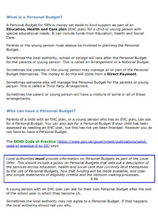 Personal Budgets for Children Template