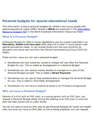 Personal Budgets for Special Educational