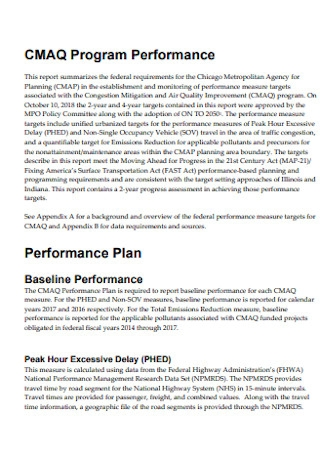 Program Performance Plan