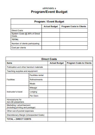 Program and Event Budget