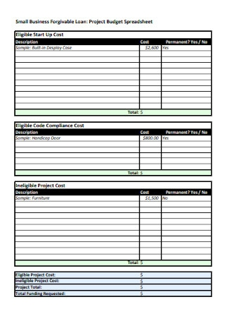 Project Budget Spreadsheet
