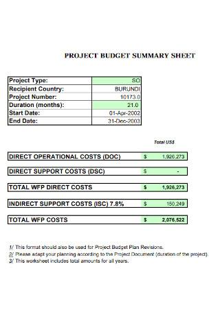 Project Budget Summary Sheet