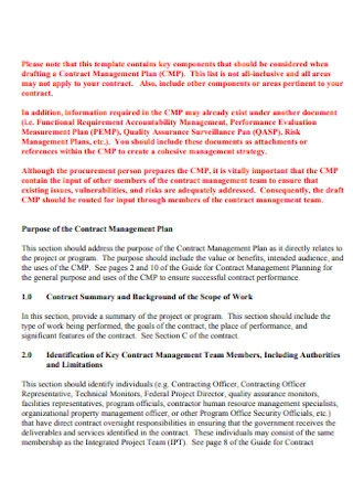 Project Contract Management Plan