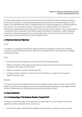 Project Lifecycle Management Plan
