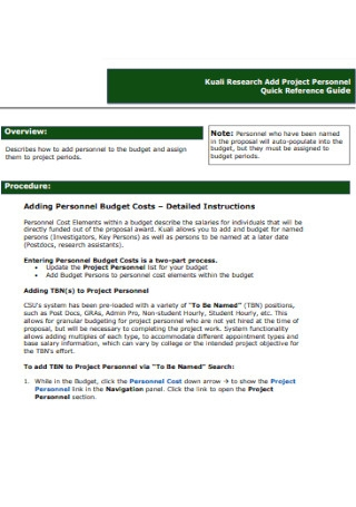 Project Personnel Budget Template