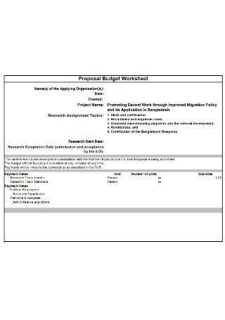 Proposal Budget Workshee