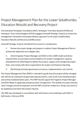 Recovery Project Management Plan