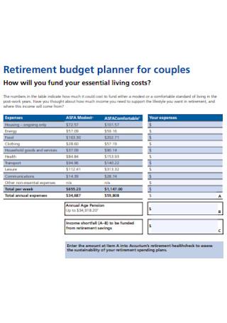 Retirement Budget Planner for Couples Worksheet