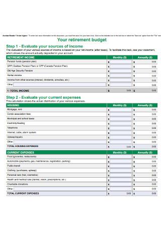 Retirement Budget Worksheet Format