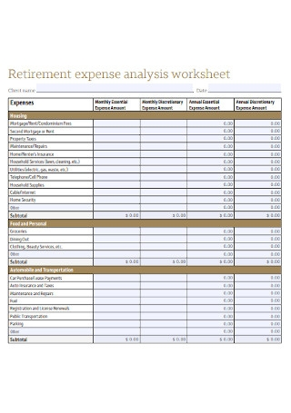 Retirement Expense Budget Analysis Worksheet