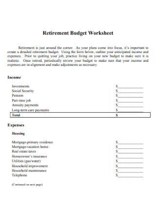 Retirement Expenses Budget Worksheet