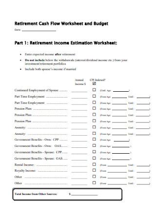 Retirement Income Budget Estimation Worksheet