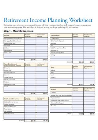 Retirement Income Budget Planning Worksheet