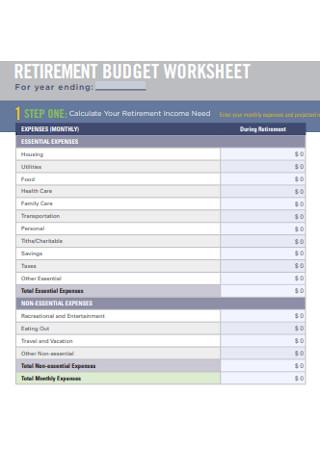 Retirement Income Budget Worksheet