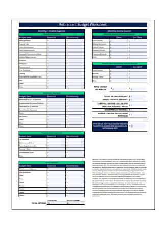 Retirement Monthly Budget Worksheet