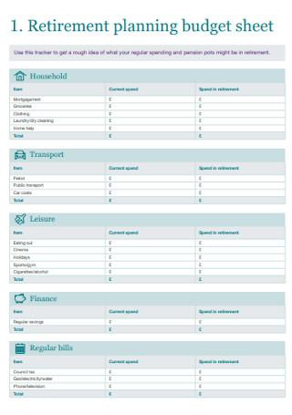 Retirement Planning Budget Sheet
