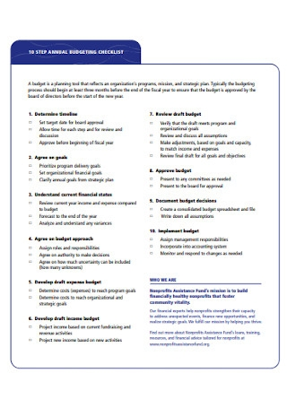 Sample Annual Budgeting Checklist