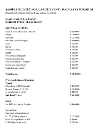 Sample Budget for Large Event