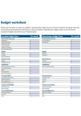 Sample Budsget Worksheet Template