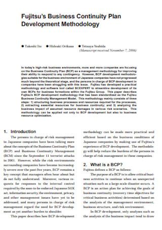 Sample Business Continuity Development Plan