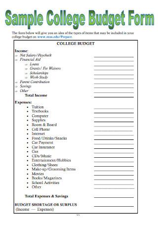 Sample College Budget Form