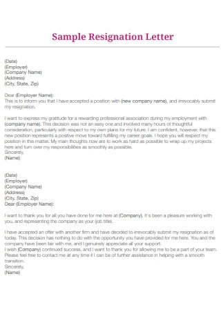 Sample Company Employee Resignation Letter