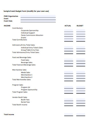 Sample Event Budget Form