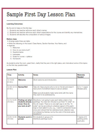 Sample First Day Lesson Plan