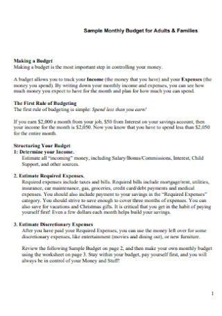 Sample Monthly Budget for Adults