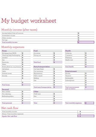 Sample My budget worksheet