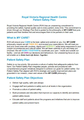 Sample Patient Health Safety Plan
