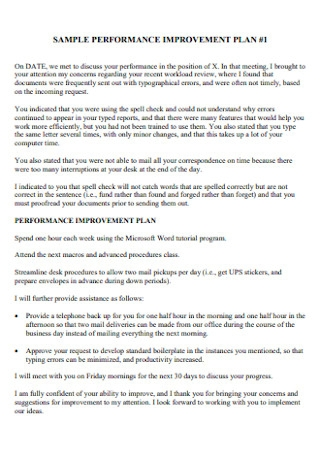 Sample Performance Improvment Plan