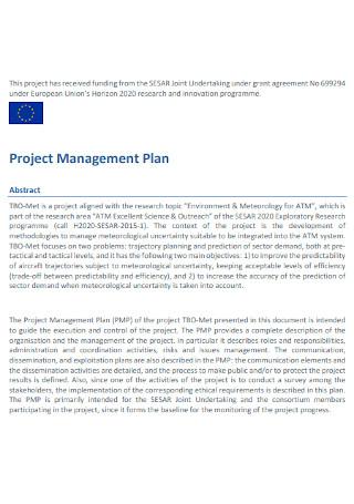 Sample Project Management Plan